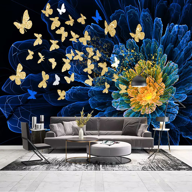 Custom Wall Cloth Modern Dreamy Golden Butterfly Abstract Flower Photo Murals Wallpaper Living Room TV Wall Papers For Wall 3 D