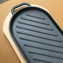 Non-stick Cooking Grill Pan Iron Steak Plate Steak Frying Pan with Wooden Tray Kitchen Cookware
