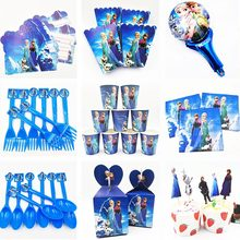 Disney Frozen Princess Anna Elsa Birthday Party Decoration Flags Tablecloth Straws Cups Plates Candy box Popcorn Frozen party(China)