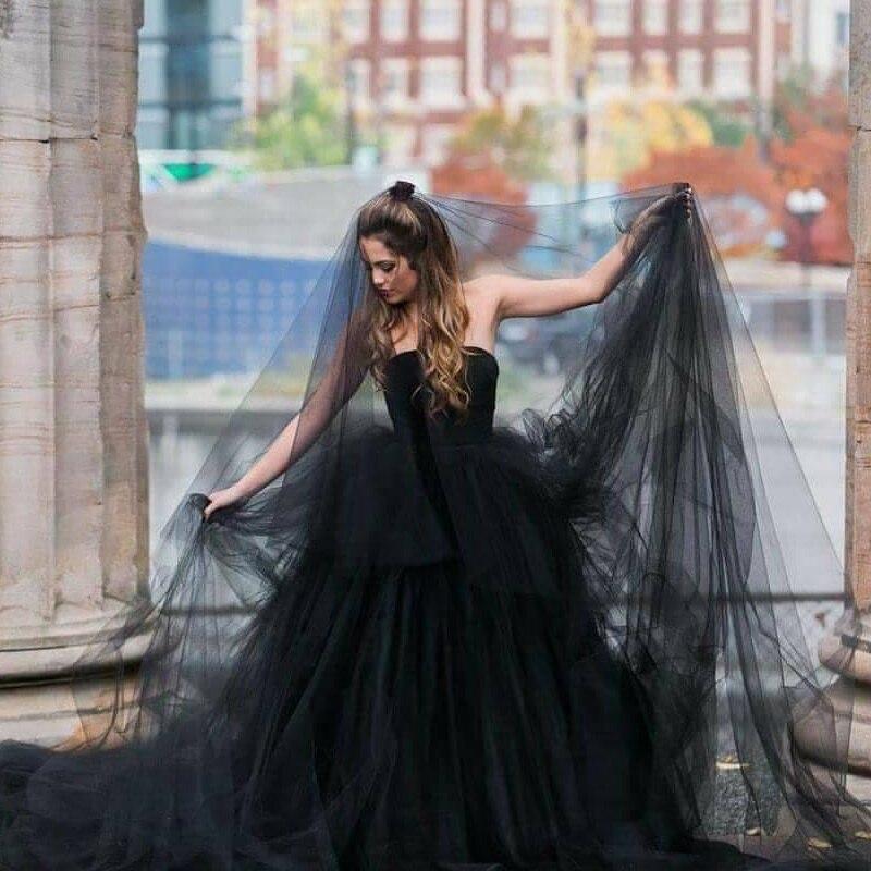 Black Wedding Veil 2019 Luxury Elegant One Layer Bridal Veil Wedding Accessories Lace With No Comb  Reflective Dress