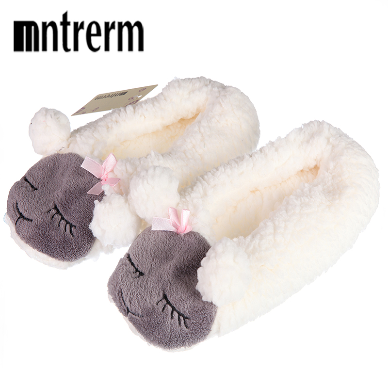 Mntrerm 2018 New Warm Flats Soft Sole Women Indoor Floor Slippers/Shoes Animal Prints Plush Slipper Couples Winter Home Slippers цена 2017