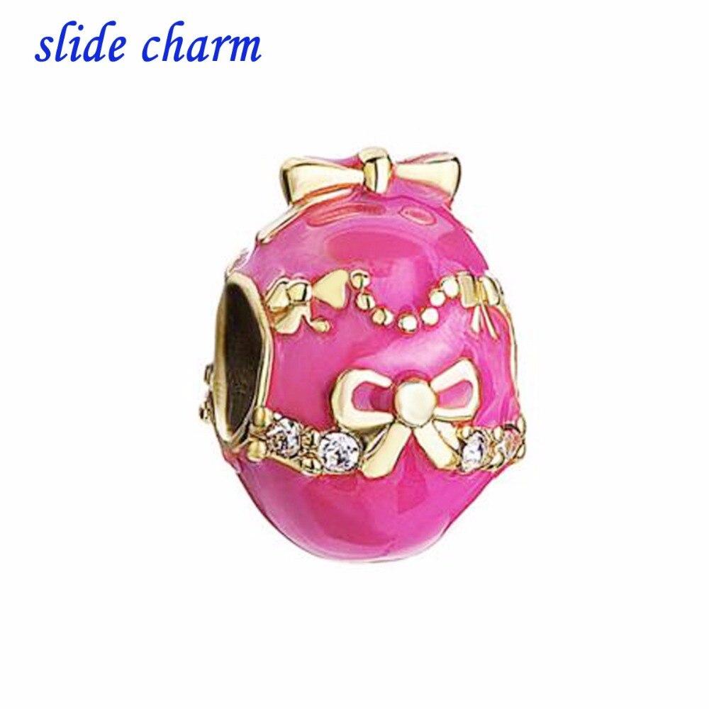 ab2b2aa63 ... reduced slide charm free shipping exquisite bow pink enamel gilt egg  charm beads fit pandora bracelet