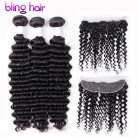 Bling Hair Brazilian Remy Human Hair Deep Wave 3 Bundles With 13x4 Lace Frontal For Weft