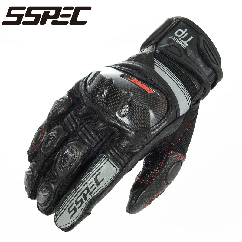SSPEC Motorcycle Gloves black Racing Gloves Genuine Leather Motorbike Gloves KOMINE GK193 Carbon Fiber knight riding glove black все цены