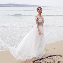 2017 Vestido De Noiva Sexy Deep V Neck Chiffon Beach Wedding Dress Cap Sleeves Backless Crystal Beaded Wedding Gowns for Bride