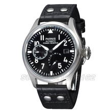 Free shipping 47mm Parnis Big Pilot Black Dial Power Reserve Automatic Men s Watch PA4705SB