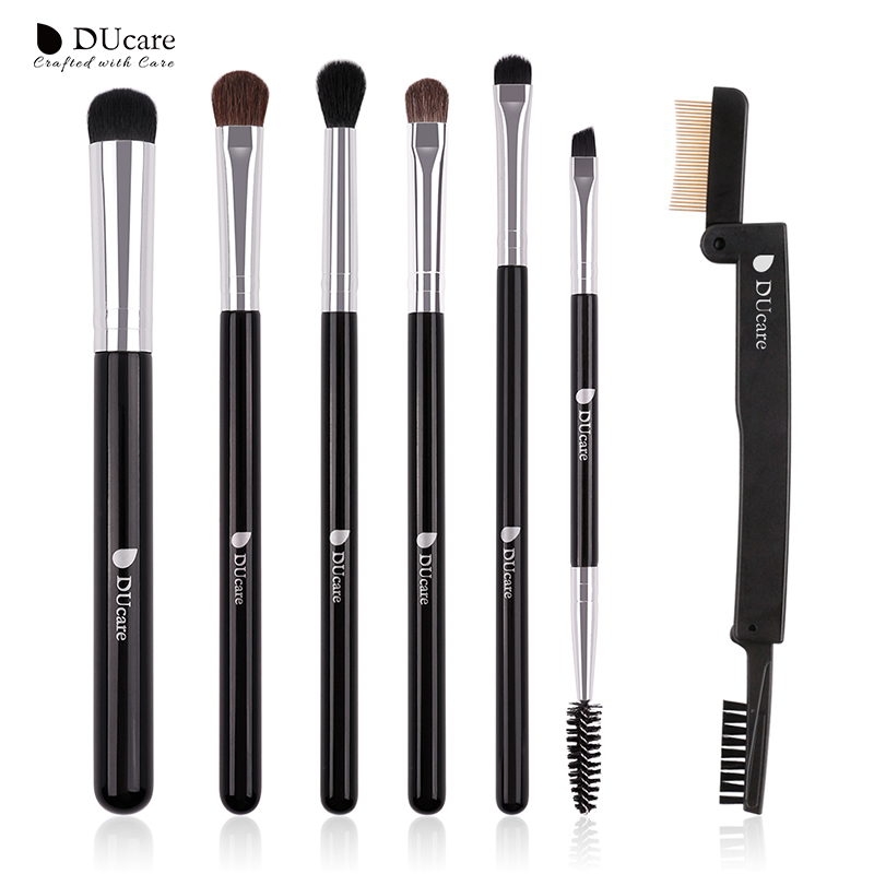 DUcare Eye Makeup Brushes Set 7 PCS Eyeshadow Brush Eyelash Comb Concealer Brush Cosmetic Tools Kit 2016 new arrival black dual purpose eyelash assist device extension beauty supplies brow brush lash comb makeup brushes tools