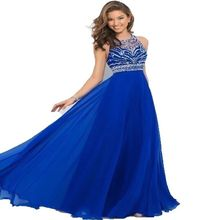 Dap2866 elegante royal blue chiffon a-linie prom dress 2017 halter bandage backless prickelnde perlen lange prom dress neue