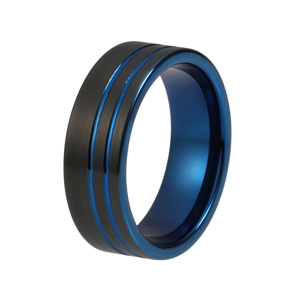 very cool fashion men ring tungsten wedding band with black blue platedchina mainland