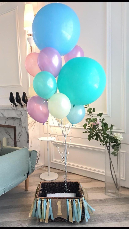 Fait à la main bébé première année fête d'anniversaire Arrangement banderoles et ballon ensemble sous la mer inspiré Air chaud panier Photo accessoires