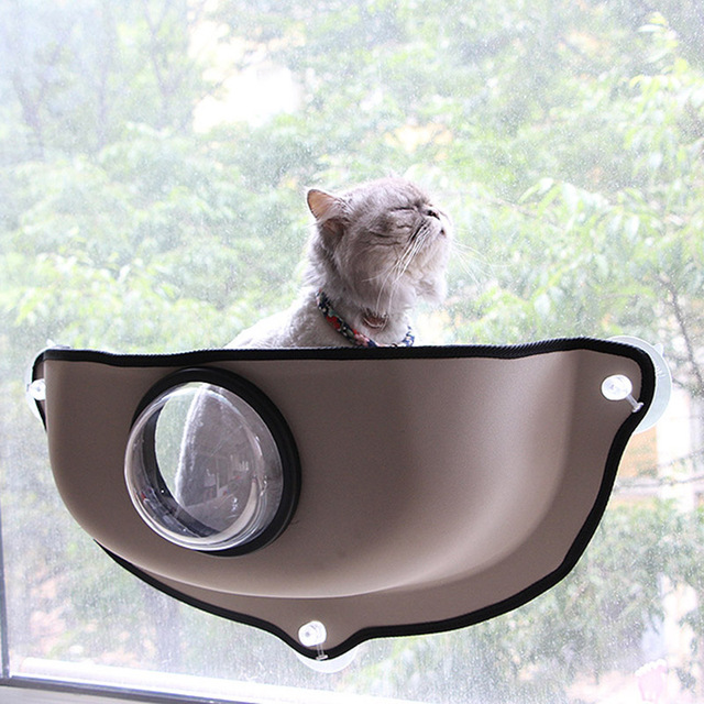 Creative Transparent Cover Cat Hammock Cat Window Bed Lounger Sofa Cushion  Hanging Shelf Seat For Ferret