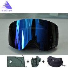 VECTOR Brand Ski Goggles Men Women Anti-fog 2 Lens UV400 Adult Winter Skiing Eyewear Professional Snowboard Skiing Goggles Set