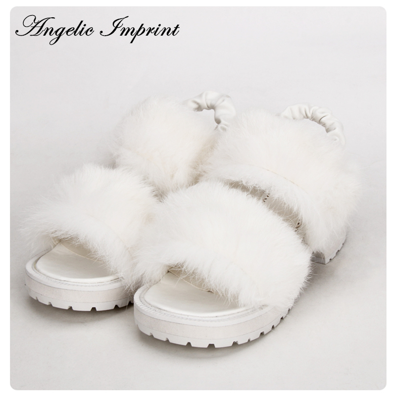 Lovely Fluffy White Fur Sweet Lolita Girls Summer Sandals Shoes