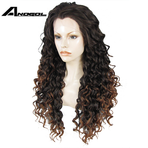 Image 2 - Anogolทนความร้อนลูกไม้ด้านหน้าด้านหน้าวิกผมสีน้ำตาลOmbre Dark Rootsวิกผมยาวสังเคราะห์Kinky CurlyธรรมชาติผมWigsสำหรับผู้หญิง
