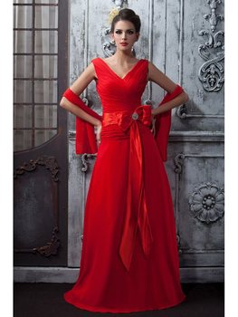 Customed A-Line Pleats Mother of the Bride Dresses With Shawl for Wedding 2020 V-neck Long Evening Prom Party Dresses Vestiods