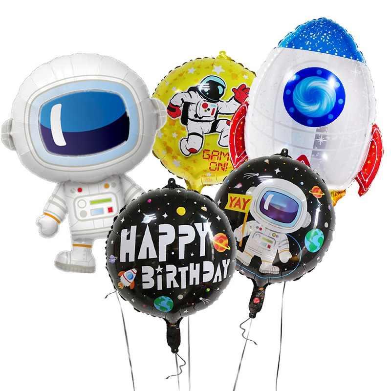 Espacio Exterior fiesta cohete de astronauta barco lámina globos galaxia/Sistema Solar tema Fiesta niño niños cumpleaños fiesta favores Decoración