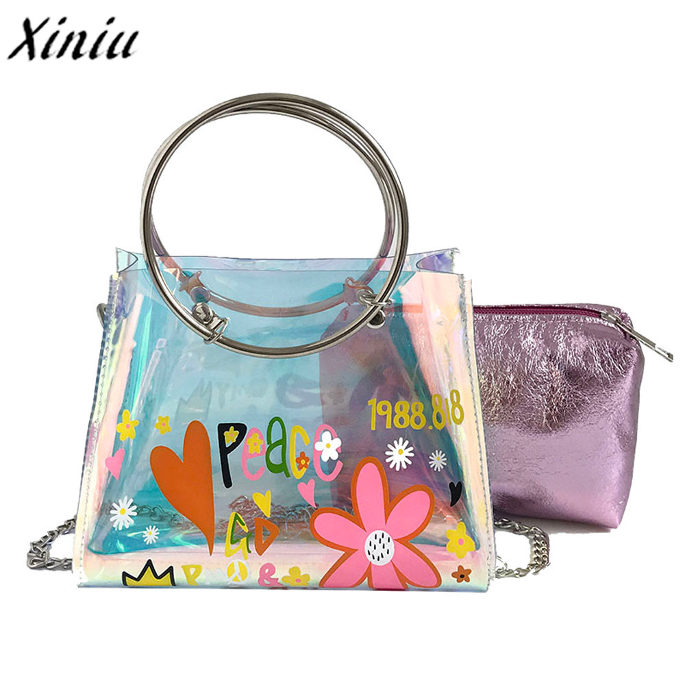 New Satchel Handbag Women Bag Clear Jelly Transparent PVC Bag Candy Color Tote Bag Designer Purse Bolsa Crossbody Bag trendy zippers and candy color design women s tote bag