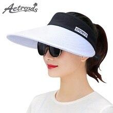 [AETRENDS]  Summer Long Visors UPV50 Sun Protection Outdoor Sport Hats for Women Men Empty Top Caps Visor Hat Z-6442
