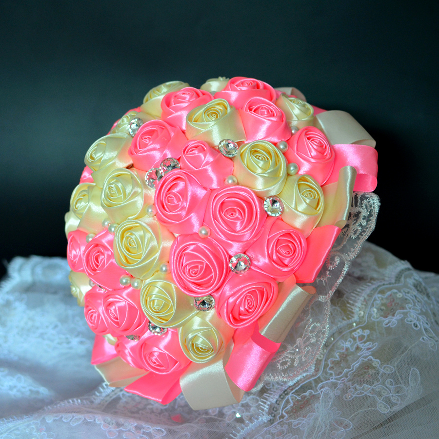 Best Selling Pink And Yellow Brooch Bouquet Wedding Bouquet De