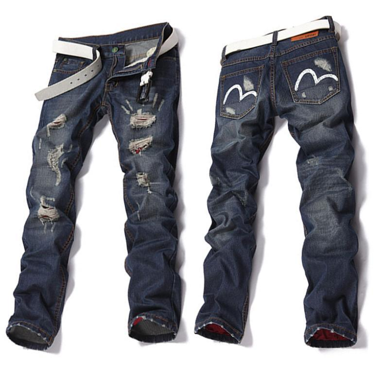 2015 New Arrival Straight Men's Jeans Ripped Frayed All