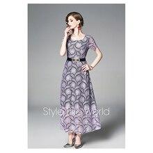 300b575c58 S-XXL wiosna lato kobieta sukienka kwiat wzór lawendy beżowy koronki  sukienka z pasa kostki długość moda w stylu vintage długa s.