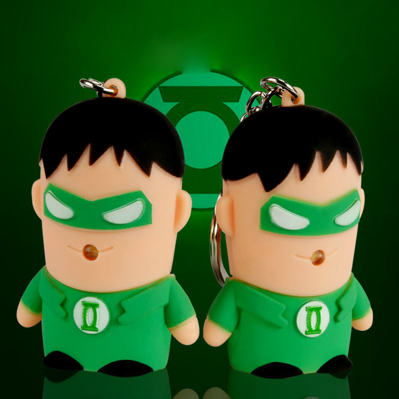 Green Arrow Keyhoder Key Chain Flashlight And Sound Led Keychain Cute Action Simulation tool Figure gift For Handbag Car Keyring