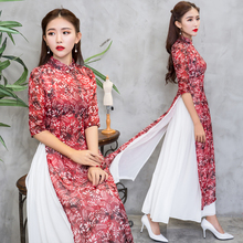 2018 new hot sale high blue satin vietnam ao dai dress chinese classic women' short sleeve sexy print short dress