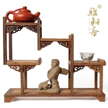 Mahogany furniture of Ming and Qing Dynasties Stone carving teapot base frame wings shelf teapot antique mahogany base