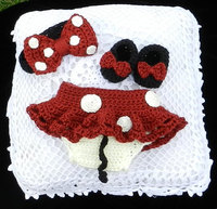 Crochet Newborn Minnie Mouse Outfit Headband Diaper Cover With Tutu Skirt Shoes Three Piece In Red
