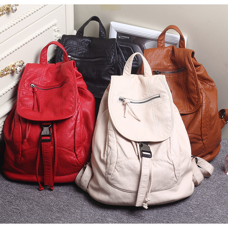 Luxury Famous Brand Designer Washed Leather Women Backpack Female Casual Shoulders Bag Teenager School Bag Fashion Women's Bags