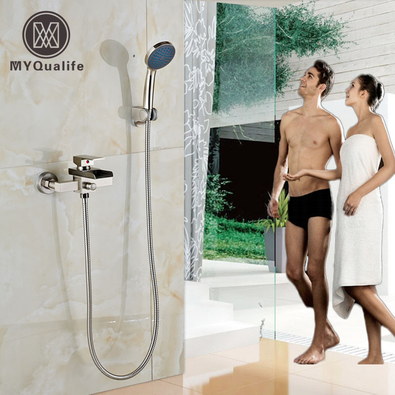 Brushed Nickel Handheld Bath Shower Faucet Waterfall Spout Wall Mounted Handheld Shower Mixer Taps free shipping polished chrome finish new wall mounted waterfall bathroom bathtub handheld shower tap mixer faucet yt 5333