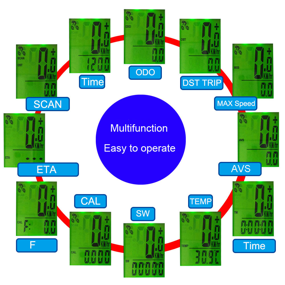 Mountain Bicycle Computer Wireless Bike Computer Bicycle Speedometer Cycling Measurable Stopwatch Waterproof LCD Cycle Odometer in Bicycle Computer from Sports Entertainment