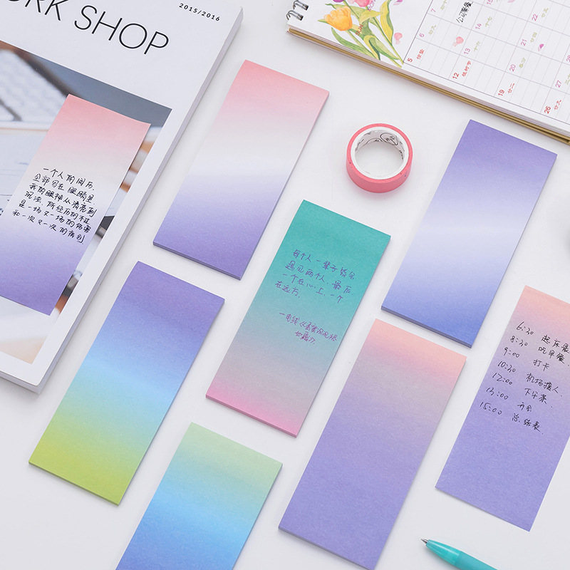 Korean Florescent Color Cute Kawaii Memo Pad Gradient Rainbow Stationery Store Office Post it School Note Notepad Agenda Sticker
