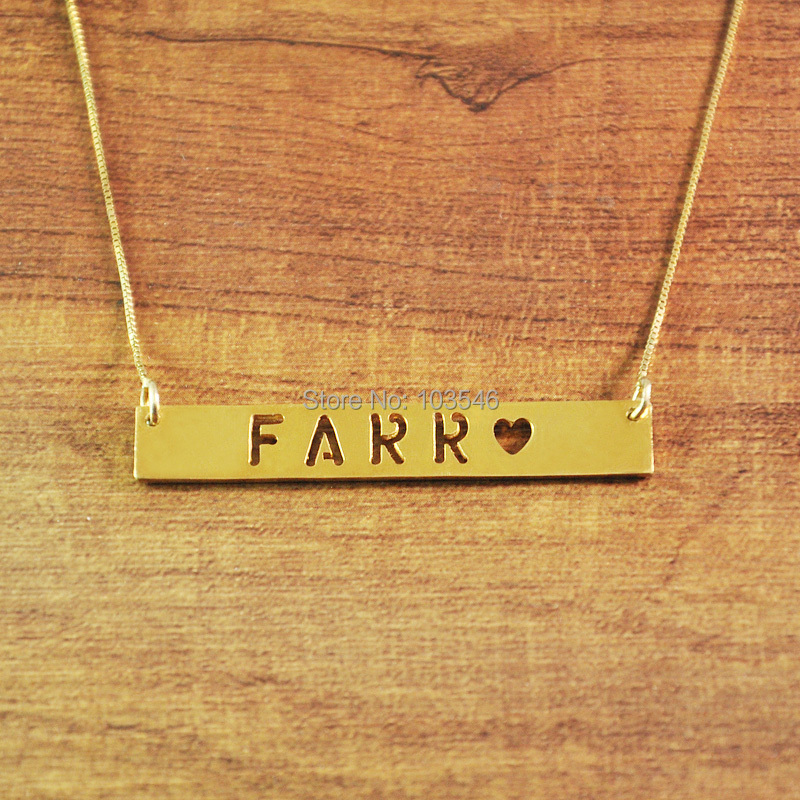 online shop custom horizontal bar necklace heart star cut out with