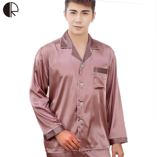 2016 New Arrival Men's Autumn Summer Silk Pajama Sets Casual  Long Sleeve Couple Sleepwear Free Shipping AP379