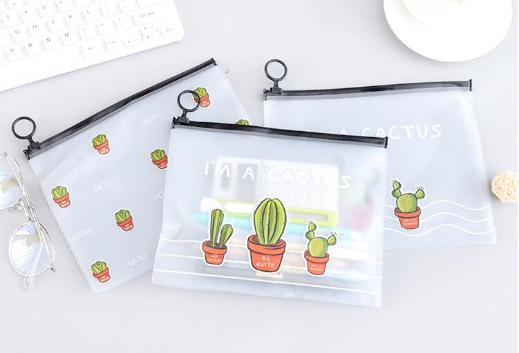 <font><b>Kawaii</b></font> cactus pvc <font><b>Pencil</b></font> <font><b>Case</b></font> <font><b>Big</b></font> capacity <font><b>pencil</b></font> bag for kids Stationery office <font><b>school</b></font> supplies Escolar Papelaria image