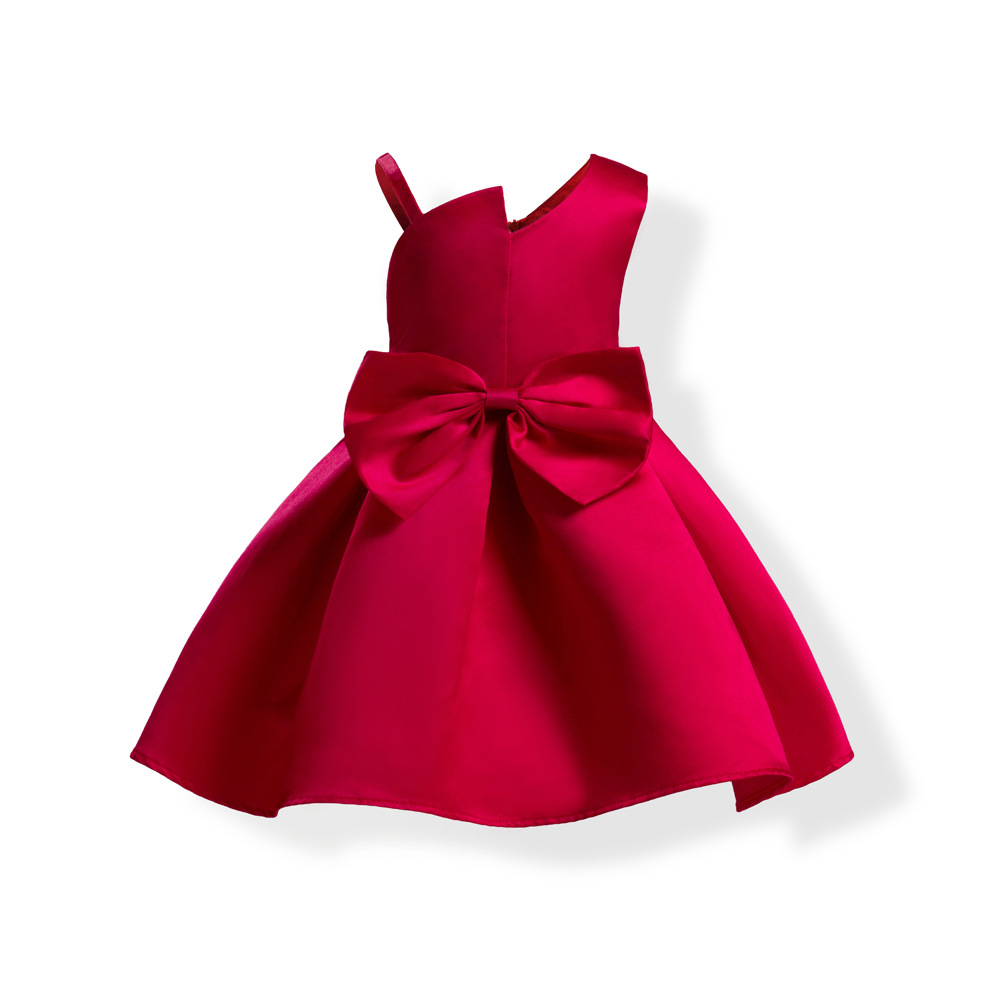 Kids Dresses For Girls Sleeveless Cotton Red and Blue Color Knee-Length Summer Princess Dress Flower Bow Baby Party Girl Dress