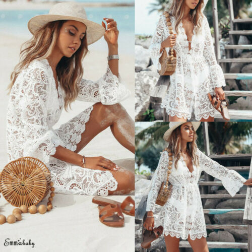 2019 New Summer Women Bikini Cover Up Floral Lace Hollow Crochet Swimsuit Cover-Ups Bathing Suit Beachwear Tunic Beach Dress Hot 4