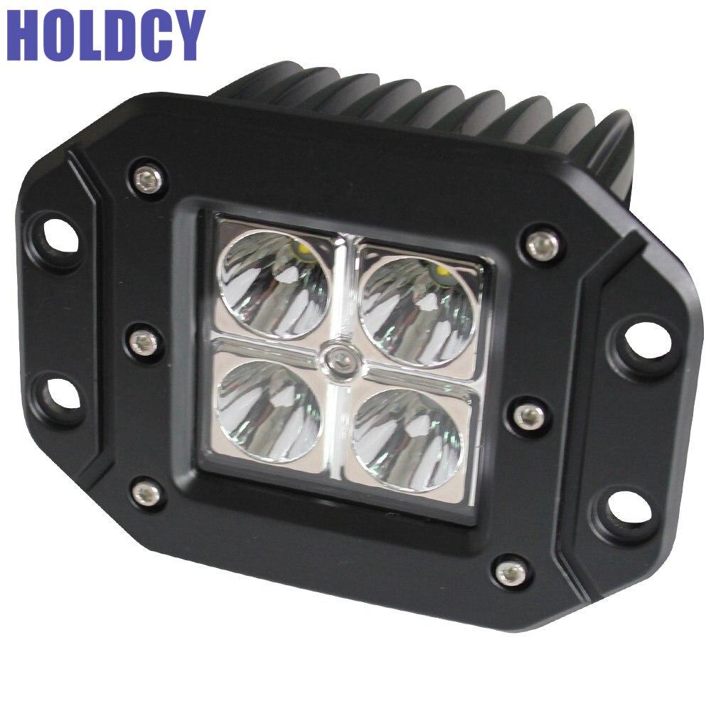 HoldCY 1Pcs LED Work Offroad Light Bar 16W 6000K Driving Lights Flush Mount barra de led for Jeep Truck Tacoma Bumper VTT ATV