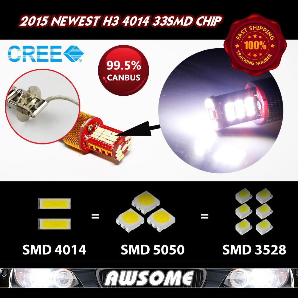 4x H3 Fog Driving DRL Daytime Running Headlight 33smd 4014 12V DC Super Strong White High LM Newest Style!!