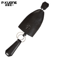 Pkuone本革車のキー財布ヴィンテージキーカードホルダーハウスキーパー·キーキーホル