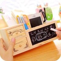 DIY Wooden Multi function Pen Holder Korea Small Fresh Cute Slot Message Creative Blackboard Student Math Toys Supplies