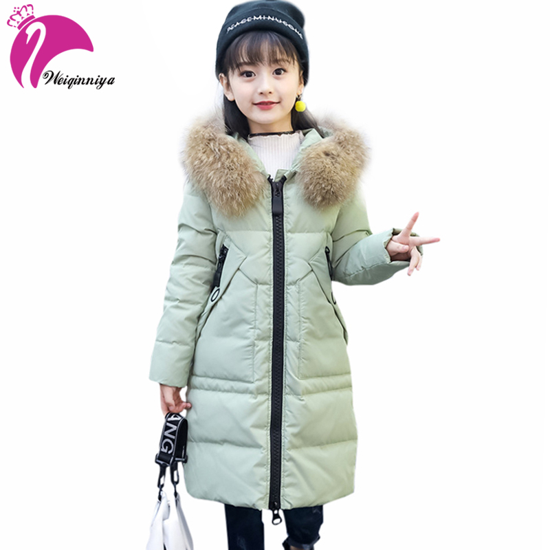 Baby Girls White Duck Down Coat New Fashion Winter Fur Parka Hooded Outwear Children Clothing Kids Thick Cotton Warm Clothes Hot winter fashion kids girls raccoon fur coat baby fur coats