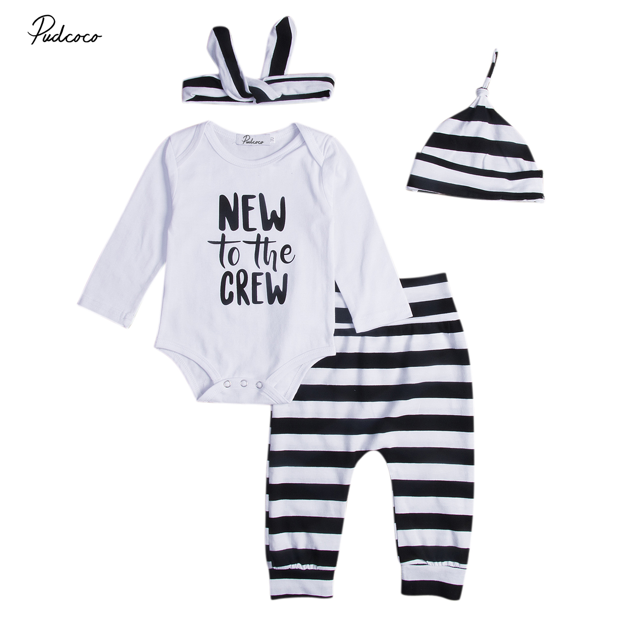 HOT Sale Striped Baby Suit Newborn Baby Boy Girl Letter Romper Cute Infant Kids Pants Cotton Blend 4PCS Baby Outfits Clothes