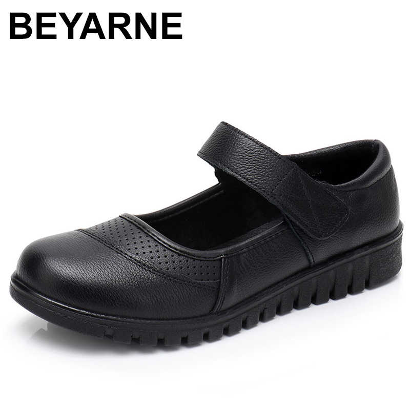 BEYARNE Flats Moccasins Slip on Loafers Genuine Leather Ballet Shoes Fashion Casual Ladies Shoes Footwear Soft Women Shoes E203