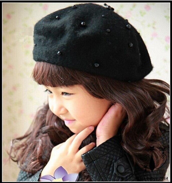 Linda pérola boina de lã cap pintor boina chapéu de malha cap bebê meninas  inverno quente para 2 6 yrs crianças em Toucas e Bonés de Mãe   Kids no ... a7188f21424