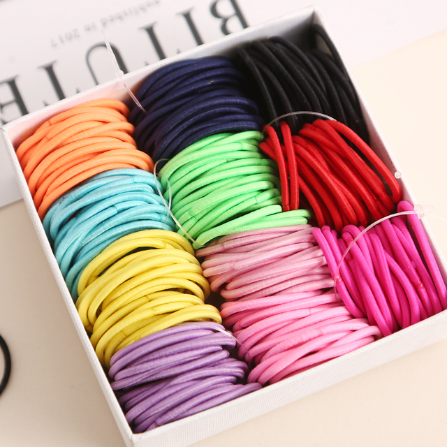 AIKELINA 100pcs/lot 3CM Cute Girl Ponytail Hair Holder Hair Accessories Thin Elastic Rubber Band For Kids Colorful Hair Ties