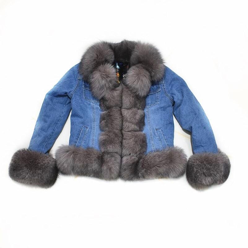 2019Women's New Natural Fox Fur Denim Jacket, Parker Clothing Rabbit Fur Lining Real Fox Fur Denim Jacket Warm Fashion Casual E