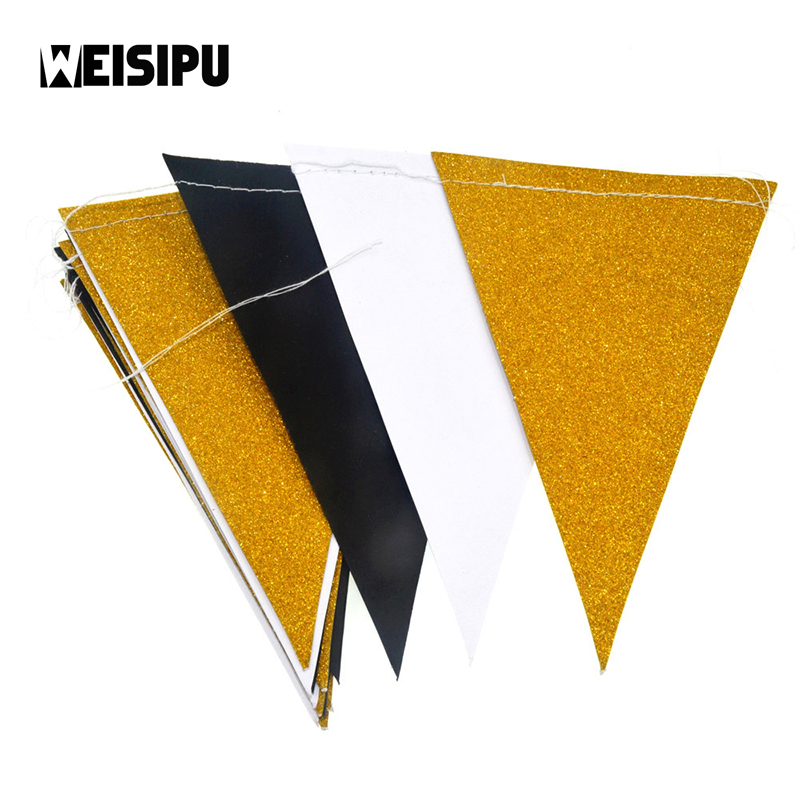 Glitter Paper Birthday Party Hanging Bunting Banner Flag: 3m 15 Flags New Fashion Black White Gold Flag Banner