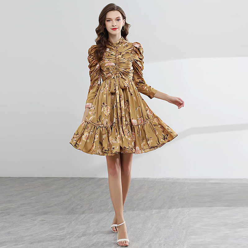 Short Dress Pleated High Quality New Women S Party Sexy Boho Beach Vintage Elegant Chic Gentlewoman